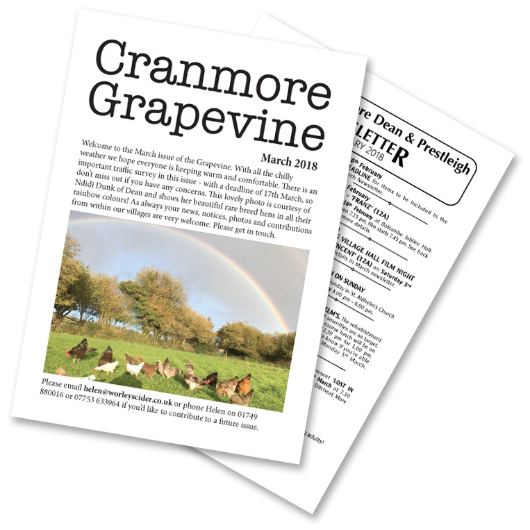 Cranmore Grapevine and Doulting Dean & Prestleigh newsletter covers